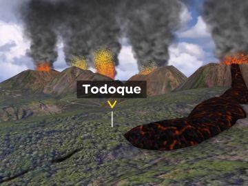 Realidad aumentada de las bocas del volcán en La Palma