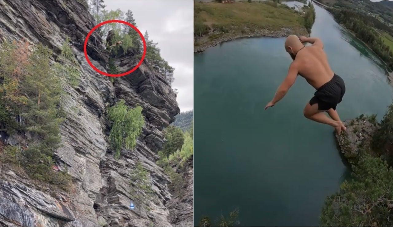 Ken Stornes y su increíble récord en la disciplina del salto de la muerte: ¡31,3 metros de caída libre hasta el agua!