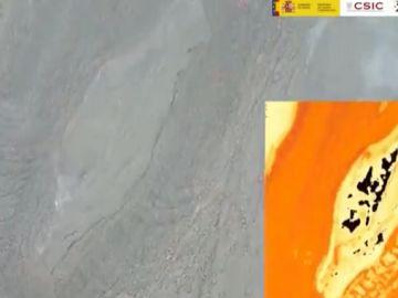Las cámras térmicas permiten ver como evoluciona la lava del volcán