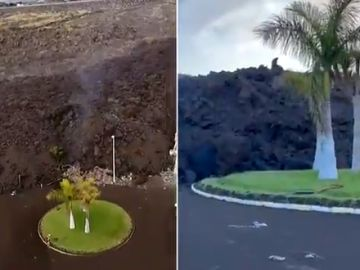 Comparativa rotonda por el avance de la lava