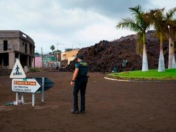 La colada de lava generada por el volcán que entró en erupción el domingo en La Palma ha irrumpido este miércoles en el pueblo de Todoque, en el municipio de Los Llanos de Aridane, derribando todo a su paso. Habitantes y propietarios se afanan en vaciar sus viviendas y negocios, mientras la erupción volcánica continúa a sus espaldas.