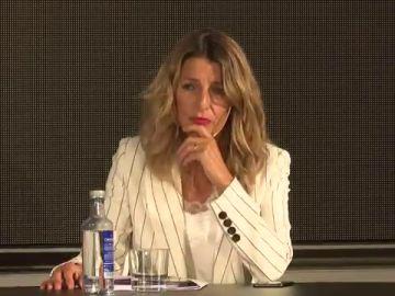 """Yolanda Díaz anuncia una apuesta firme para jóvenes españoles en el extranjero: """"Si hay trabajo precario es porque hay empresas precarias"""""""