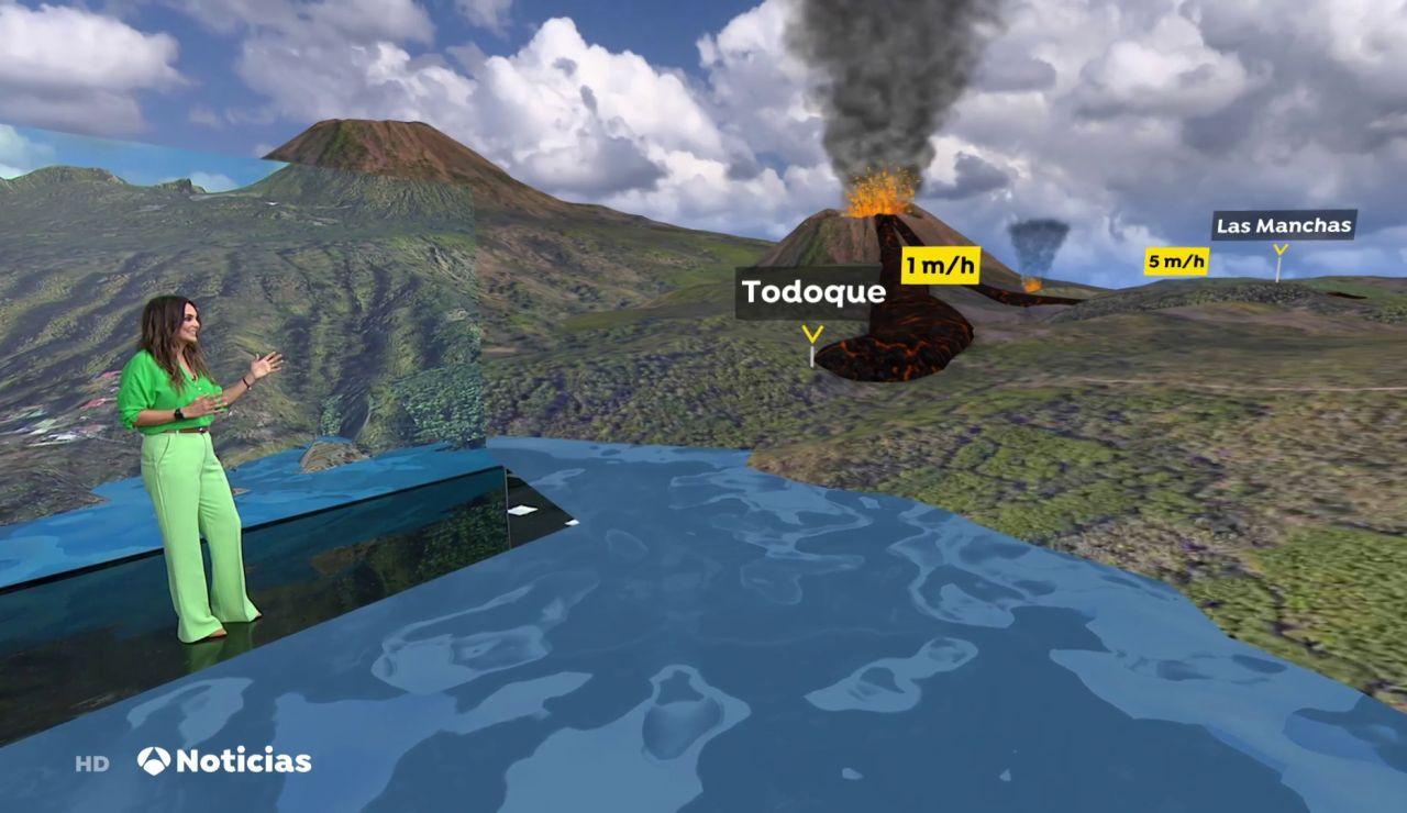 El cono del volcán de La Palma se ha roto y deja una nueva colada enorme en dirección hacia el mar.