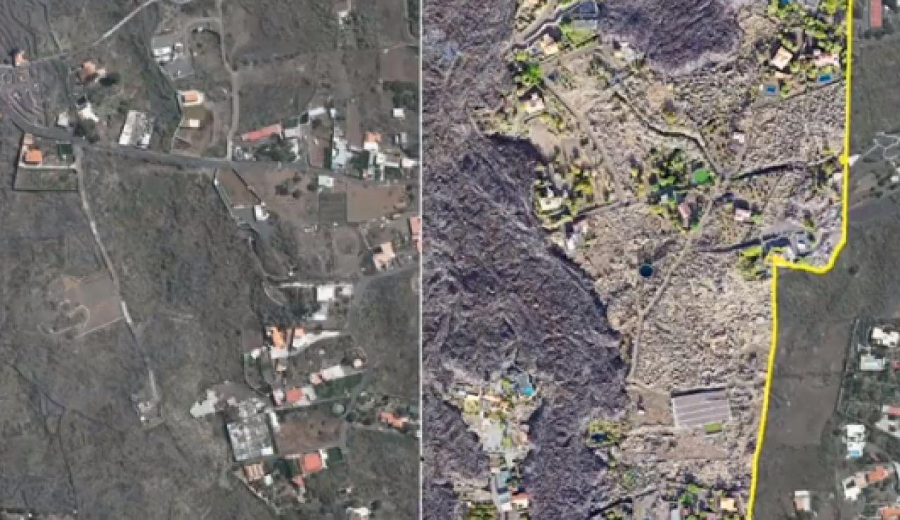 Antes y después del terreno de La Palma tras el paso de una colada de lava