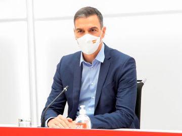 El presidente del gobierno y secretario general del PSOE, Pedro Sánchez, durante la reunión de la Comisión Ejecutiva Federal del PSOE, el último antes de la celebración, el próximo fin de semana en Valencia, del 40 Congreso del partido, esta mañana en la sede socialista de la calle Ferraz