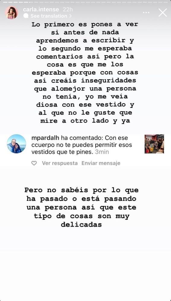 Carla Vigo responde a los ataques recibidos sobre su cuerpo