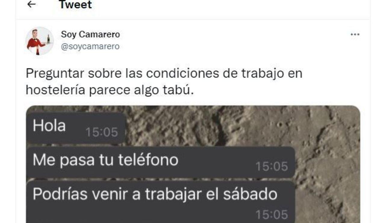 Tuit de @soycamarero
