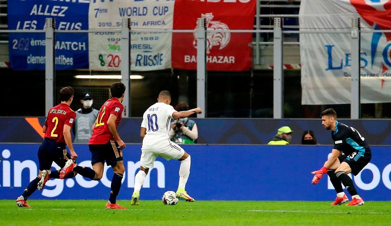 Mbappé anota ante España en la final de la Nations League