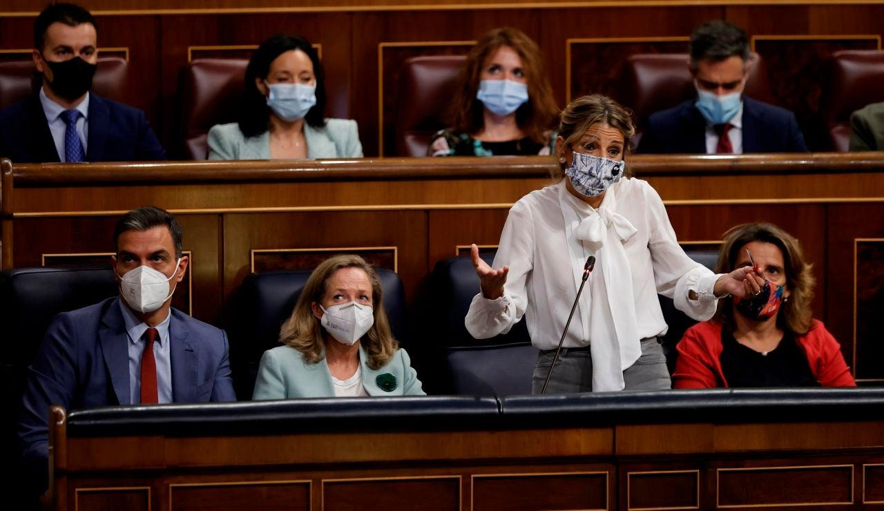 Pedro Sánchez, Yolanda Díaz, Nadia Calviño y Teresa Ribera.