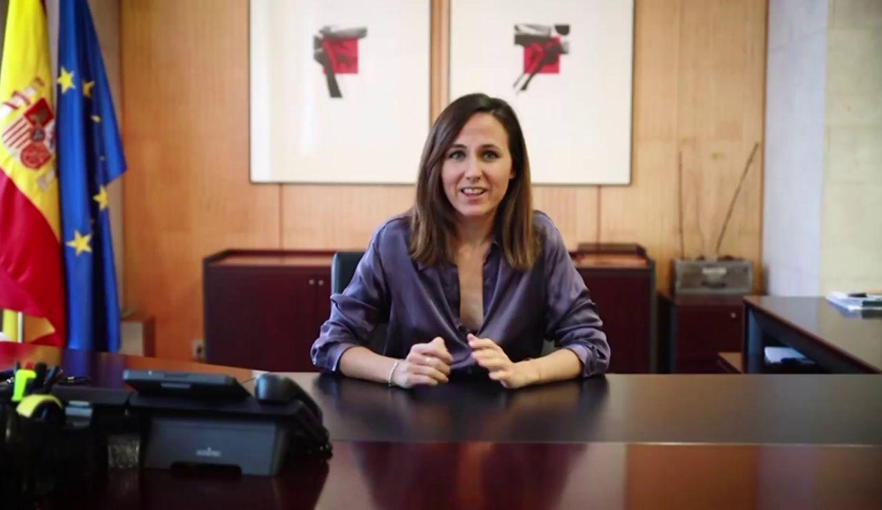 Ione Belarra hace patente la tensión entre PSOE y Podemos felicitándose desde su despacho por la nueva Ley de Vivienda