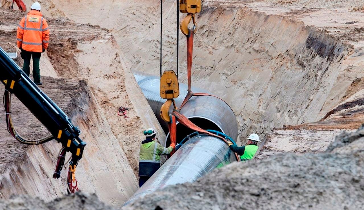 Imagen de archivo de los trabajos de construcción del gasoducto Nord Stream 2, en Lubmin (Alemania).