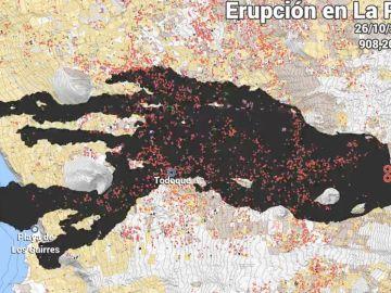Crecimiento de la colada de lava del volcán de La Palma