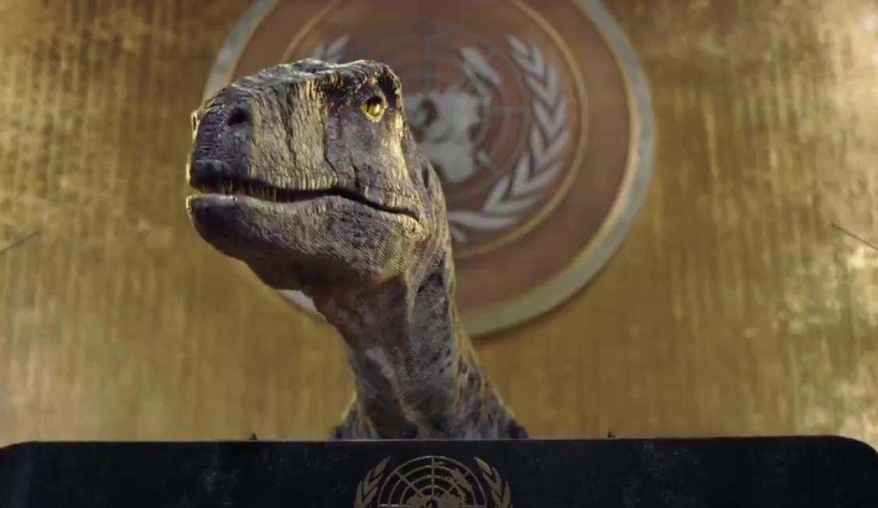 Frankie, el dinosaurio de la ONU que trata de concienciar sobre el cambio climático